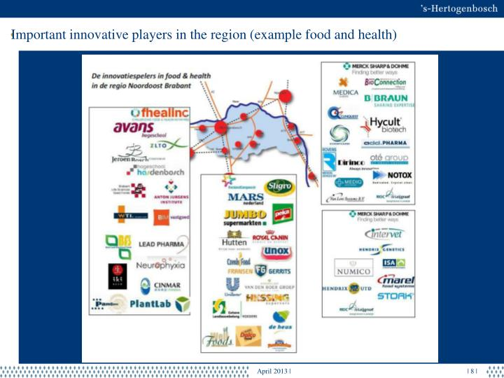 Important innovative players in the region (example food and health)