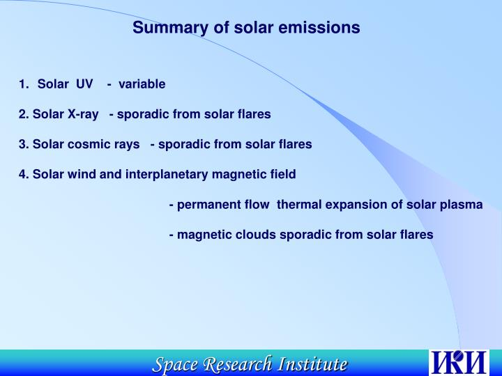 Summary of solar emissions