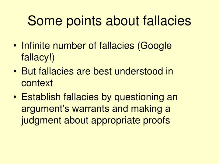 Some points about fallacies