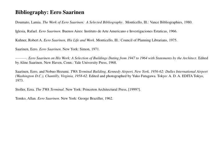 Bibliography: Eero Saarinen