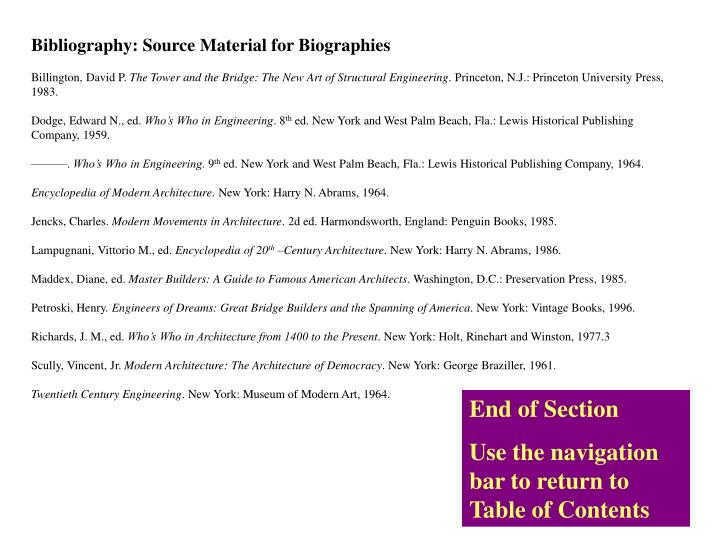Bibliography: Source Material for Biographies