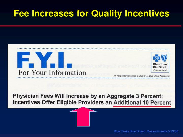 Fee Increases for Quality Incentives