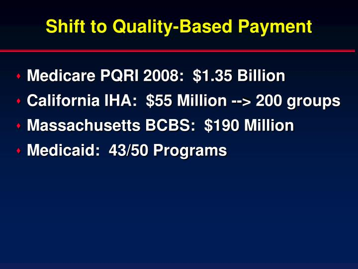 Shift to Quality-Based Payment