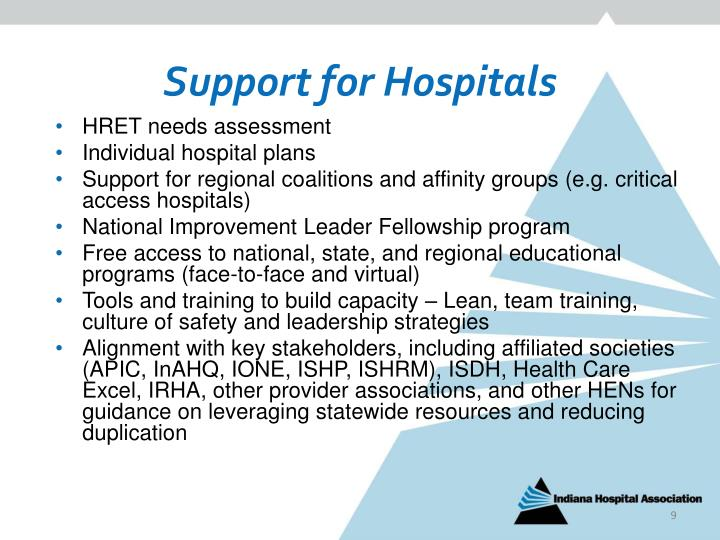 Support for Hospitals