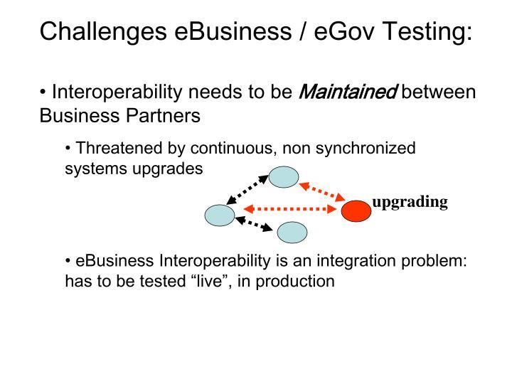 Challenges eBusiness / eGov Testing: