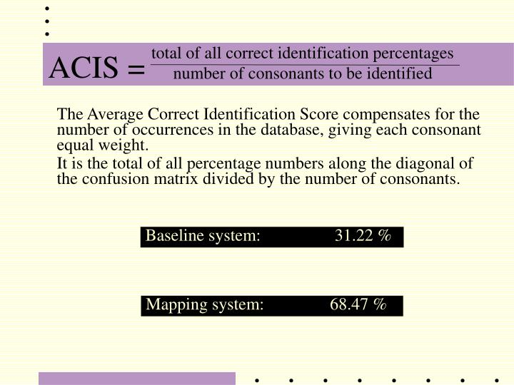 total of all correct identification percentages