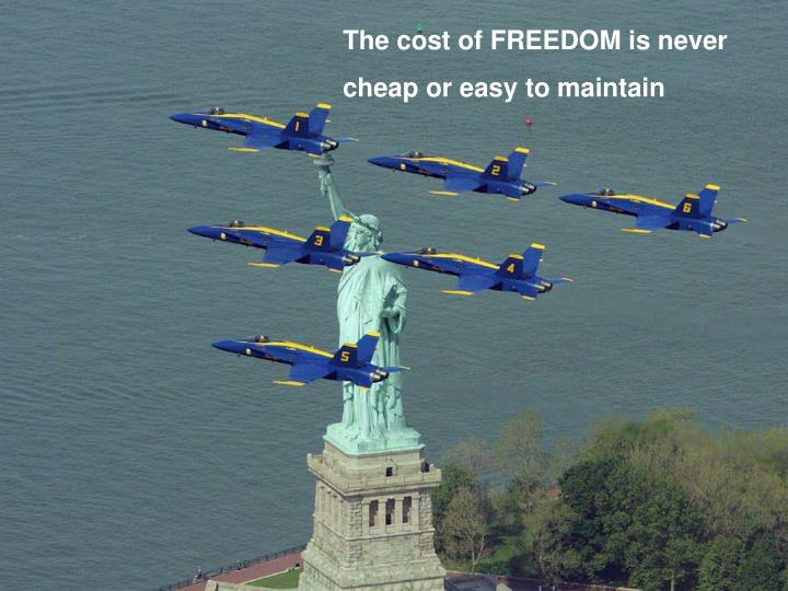 The cost of FREEDOM is never