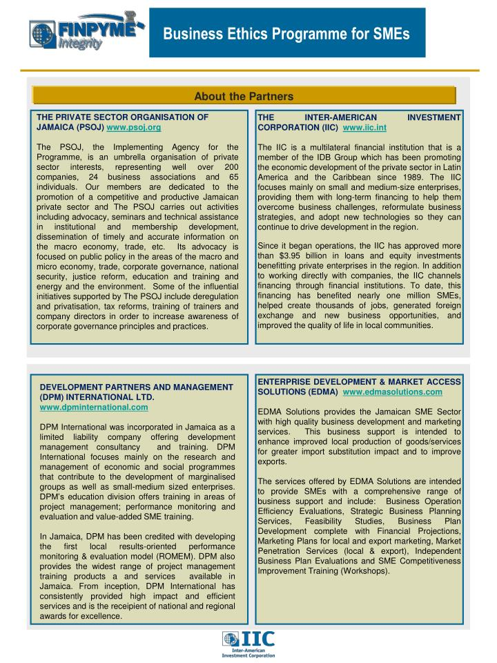 Business Ethics Programme for SMEs