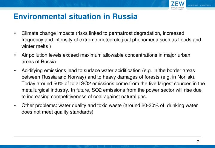 Climate change impacts (risks linked to permafrost degradation,