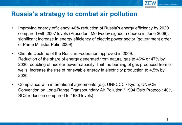 Russia's strategy to combat air pollution