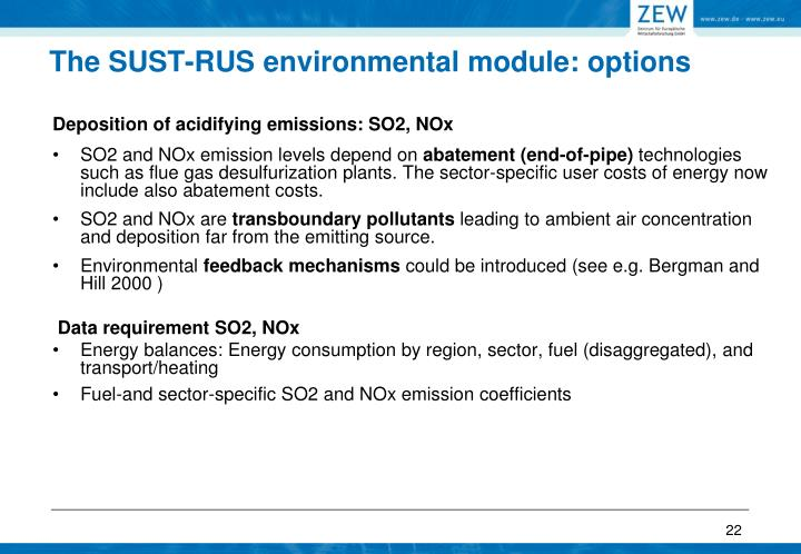 The SUST-RUS environmental module: options