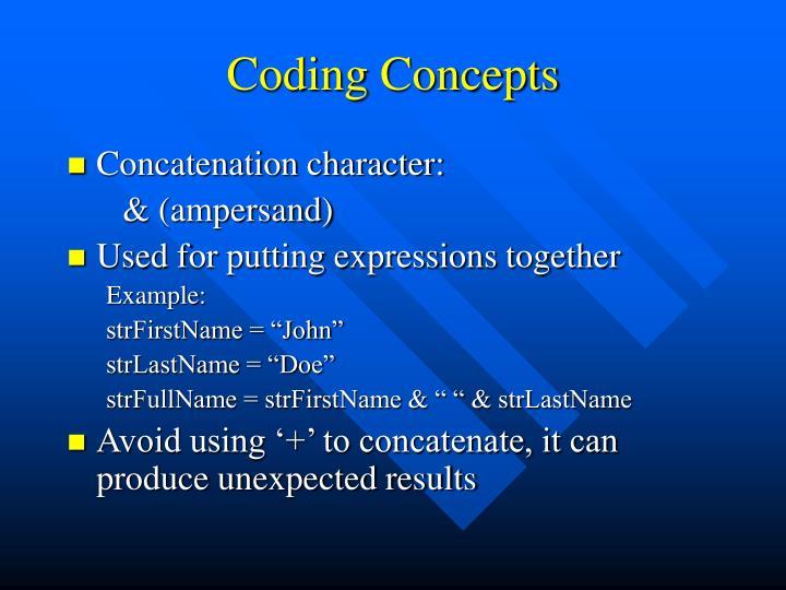 Coding Concepts
