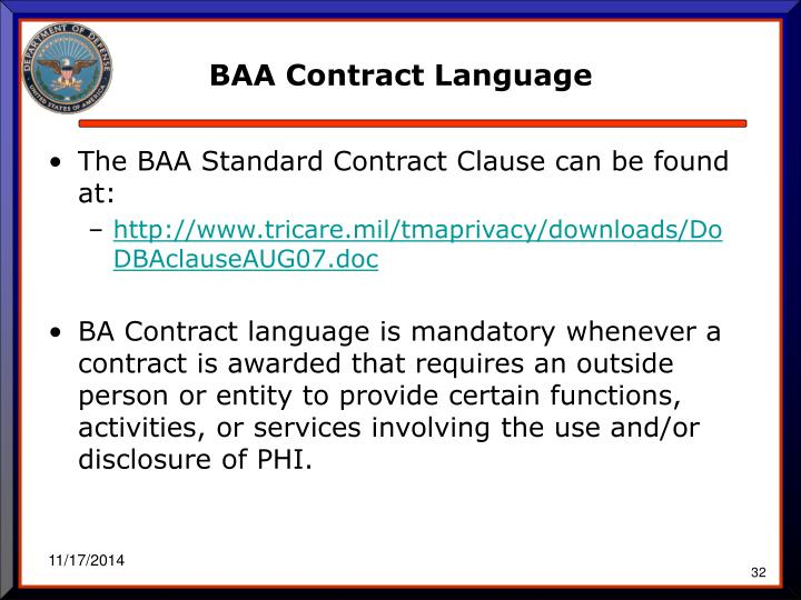 BAA Contract Language