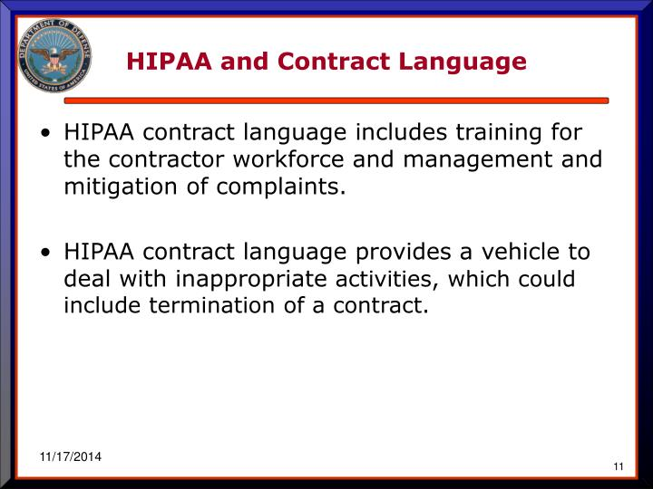 HIPAA and Contract Language