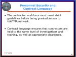 personnel security and contract language