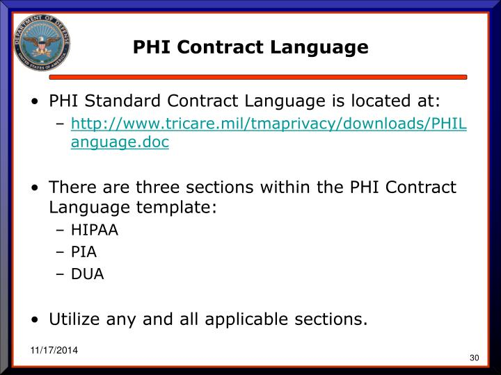 PHI Contract Language