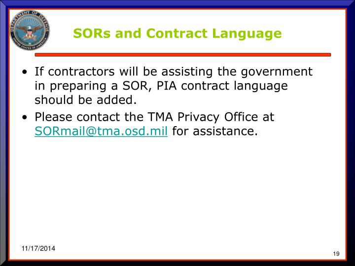 SORs and Contract Language