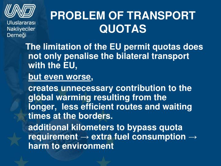 PROBLEM OF TRANSPORT QUOTAS