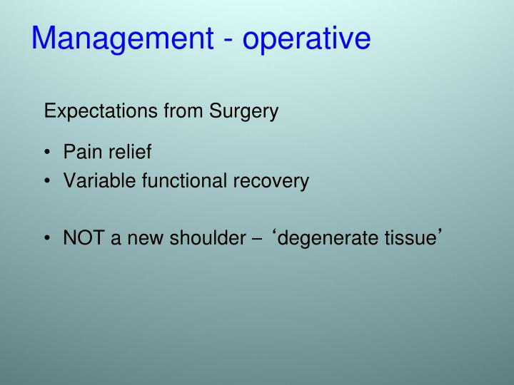 Expectations from Surgery