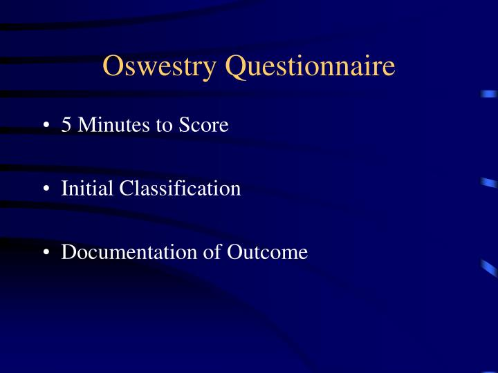 Oswestry Questionnaire
