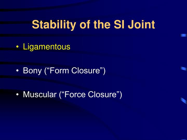 Stability of the SI Joint