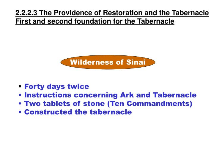 2.2.2.3 The Providence of Restoration and the Tabernacle