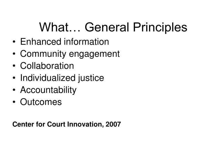 What… General Principles