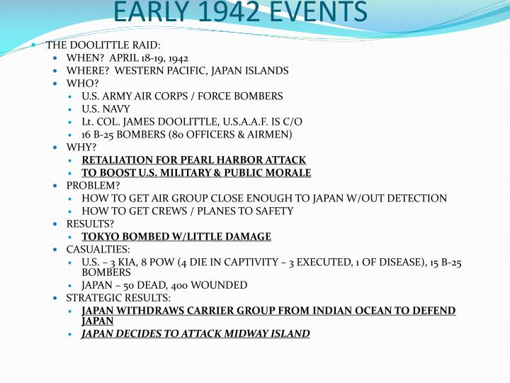 EARLY 1942 EVENTS
