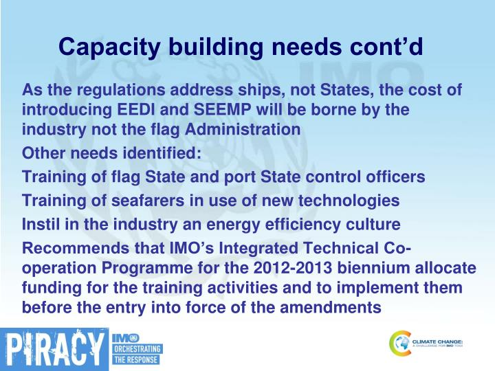 Capacity building needs cont'd