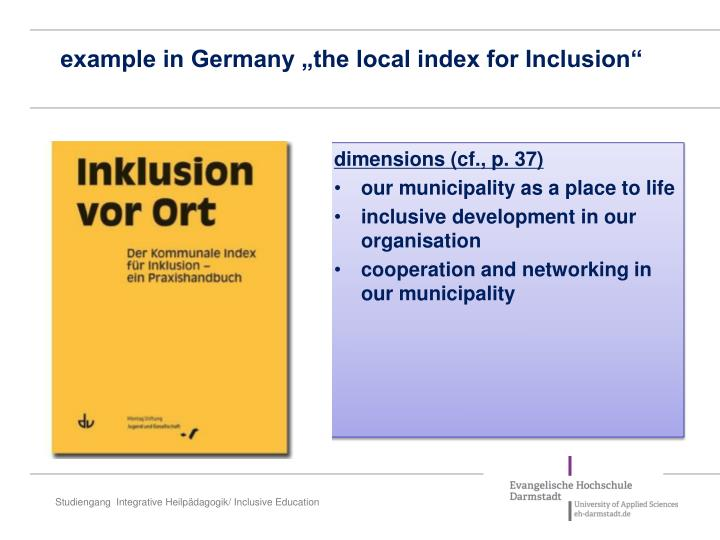 """example in Germany """"the local index for Inclusion"""""""
