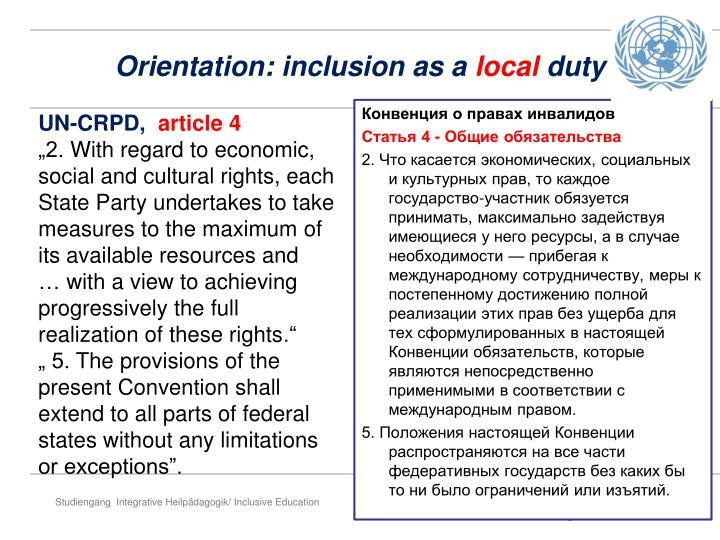 Orientation: inclusion as a