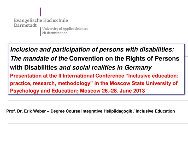 Inclusion and participation of persons with disabilities: