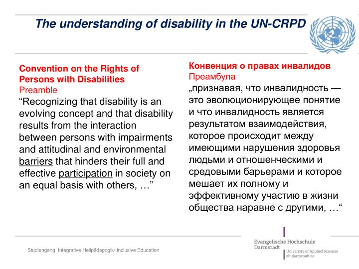 The understanding of disability in the UN-CRPD