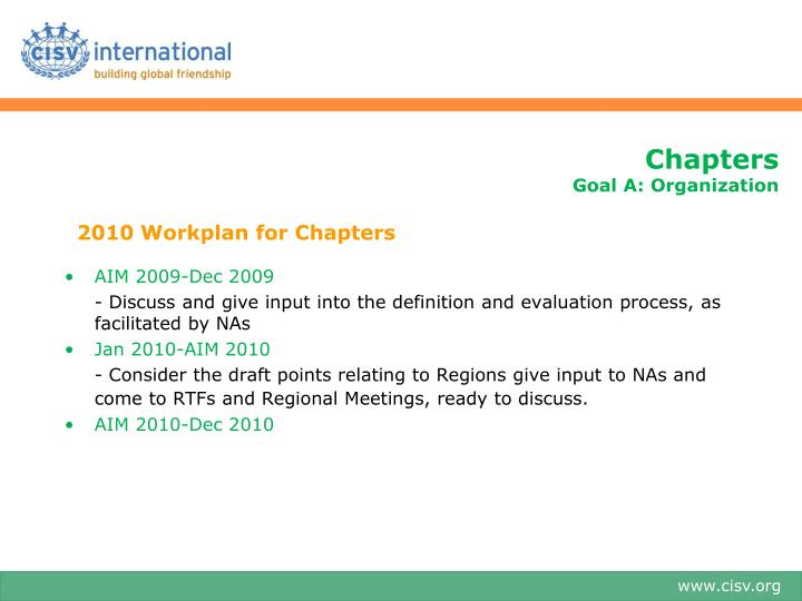 2010 Workplan for Chapters