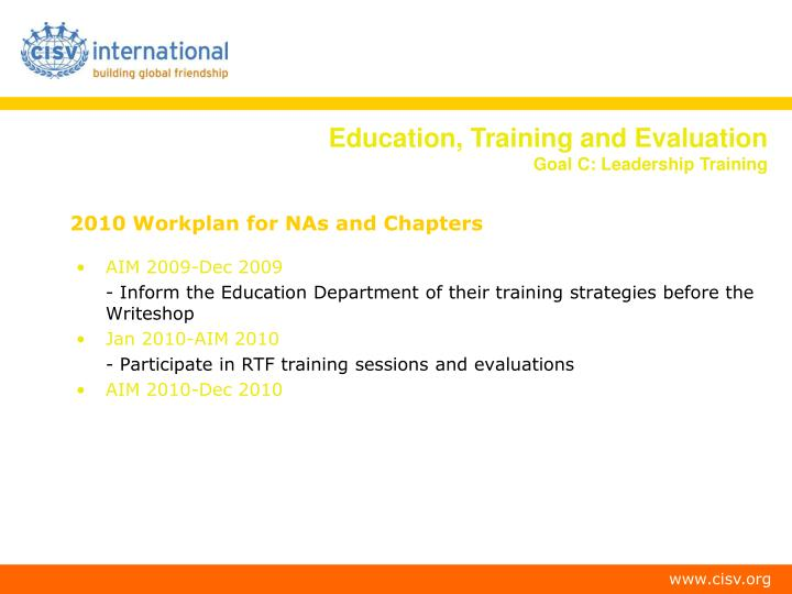 2010 Workplan for NAs and Chapters