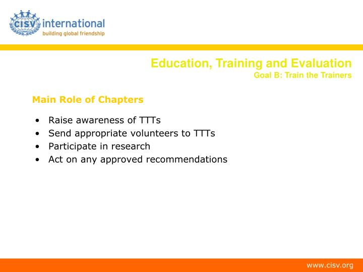 Main Role of Chapters