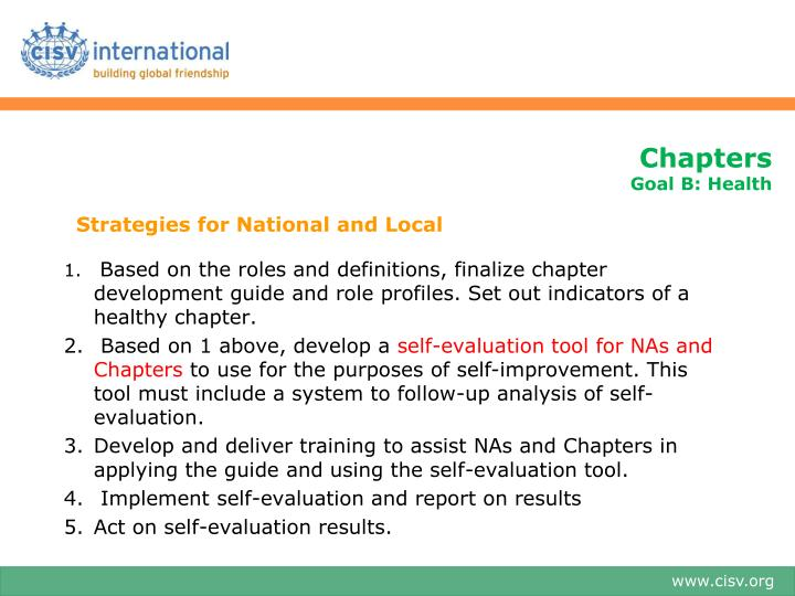 Strategies for National and Local