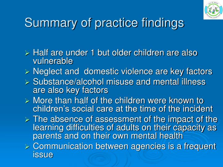 Summary of practice findings