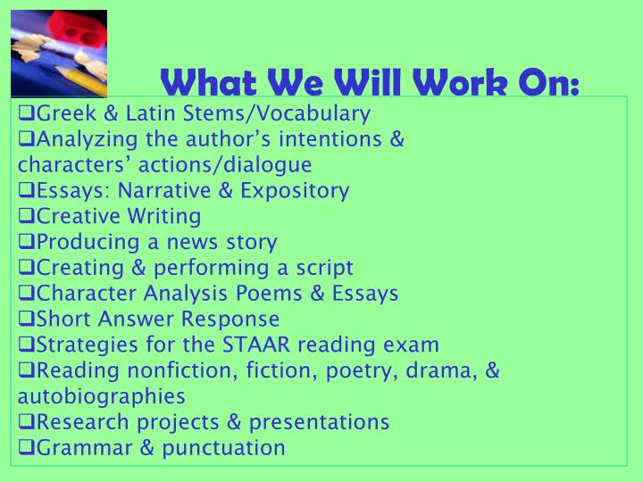 What We Will Work On: