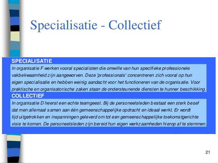 Specialisatie - Collectief