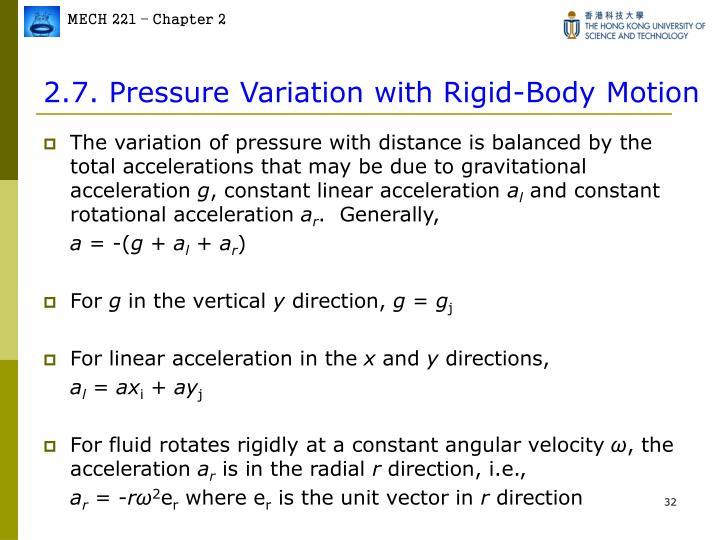 2.7. Pressure Variation with Rigid-Body Motion