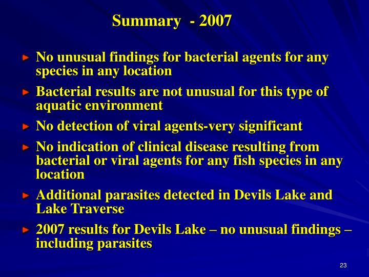 Summary  - 2007