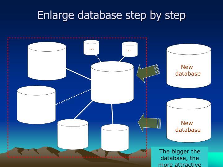 Enlarge database step by step