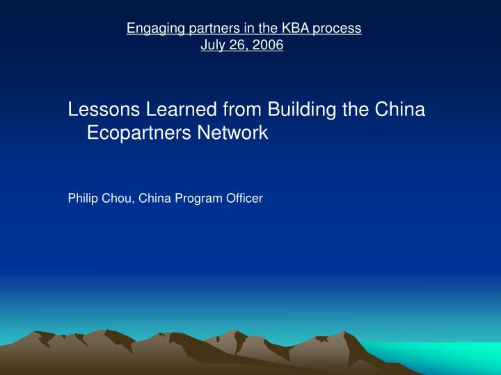Engaging partners in the KBA process