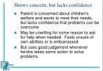 shows concern but lacks confidence