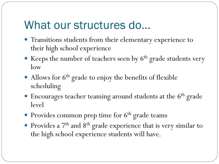 What our structures do…