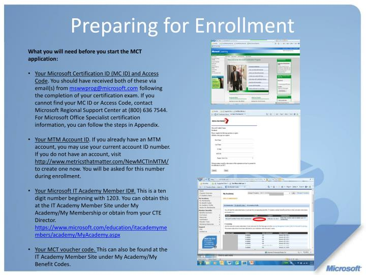 What you will need before you start the MCT application: