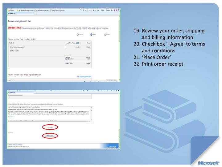 Review your order, shipping and billing information