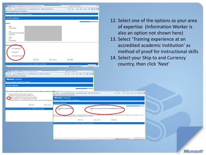 Select one of the options as your area of expertise  (Information Worker is also an option not shown here)