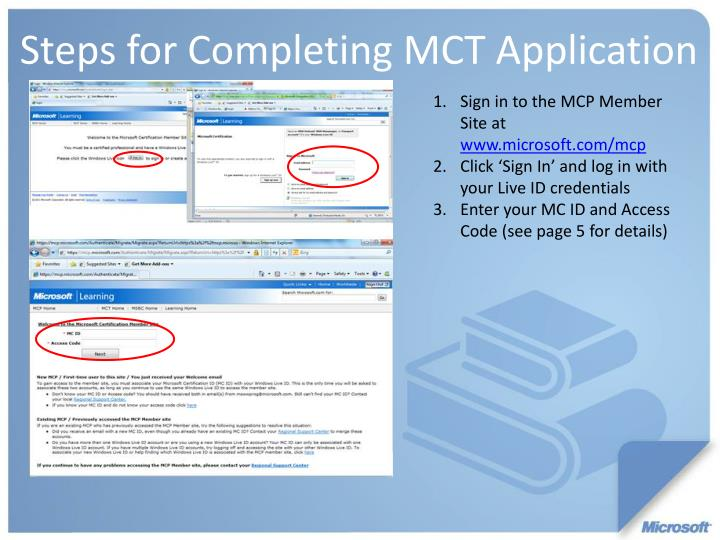 Sign in to the MCP Member Site at